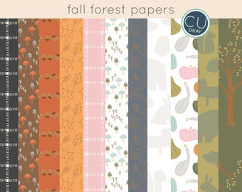 Autumn Fall Woodland Forest Digital Paper Pack  - Hand-Drawn Digital Illustrations- Commercial Use Royalty Free - instant download