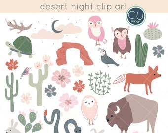 Desert Night Animal Clip Art Graphics  - Hand-Drawn Digital Illustrations- Commercial Use Royalty Free - instant download