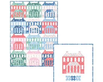 Pemberley House Block Quilt Pattern by Citrus and Mint Designs PDF instant download - Jane Austen inspired