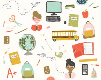 Back to School Clip Art Graphics- Hand-Drawn Digital Illustrations- Commercial Use Royalty Free - instant download