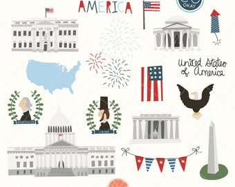 United States America Clip Art Graphics- Fourth of July - Hand-Drawn Digital Illustrations- Commercial Use Royalty Free - instant download