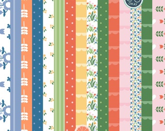 Dutch Spring Digital Clip Papers - 15 Hand-Drawn Digital Papers- Commercial Use - instant download
