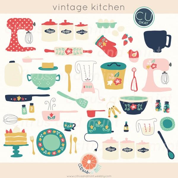 Kitchen Design Clip Art: Vintage Kitchen Clip Art Baking Digital Hand-Drawn