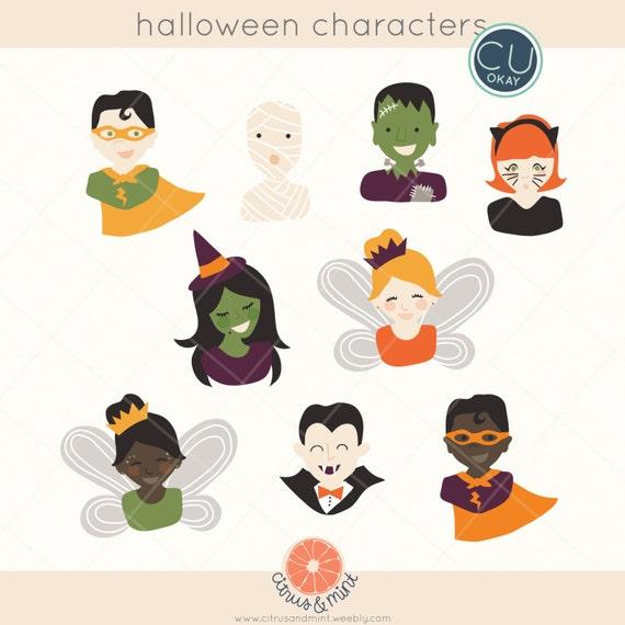 Halloween Clip Art Graphics Hand Drawn Digital Illustrations Etsy
