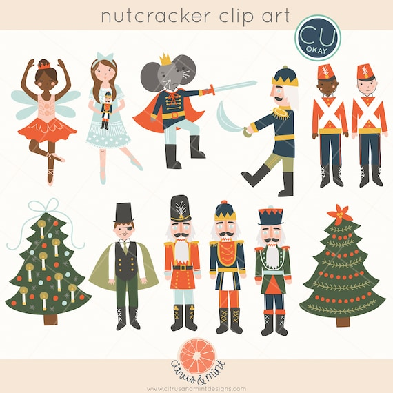 Nutcracker Christmas Tree Clipart.Nutcracker Ballet Christmas Clip Art Graphics Holiday 2017 Hand Drawn Digital Illustrations Commercial Use Royalty Free