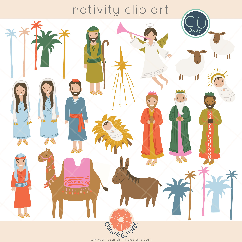Christmas Nativity Religious Clip Art Graphics Holiday 2017 | Etsy