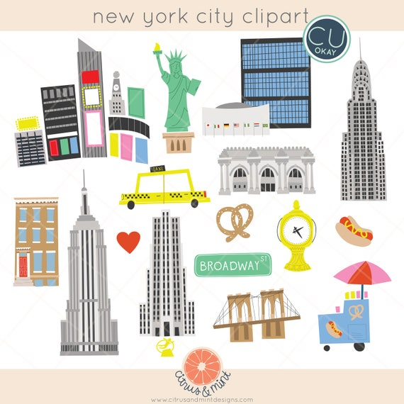 Free Map Of New York City.New York City Map Travel Clip Art Graphics Hand Drawn Digital Illustrations Commercial Use Royalty Free Instant Download