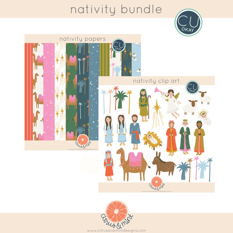 Christmas Nativity Religious Clipart and Digital Paper  image 0