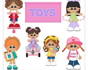 DIGITAL SCRAPBOOKING CLIPART - Girls & Their Toys