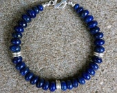 Handmade Genuine AA Plus Natural Blue Lapis Lazuli Gemstone Stone Beaded Bracelet in Fine Silver Unisex Jewelry Lapis & Silver Bracelet