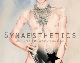 "Limited Edition Print of Erotic Art Illustration: ""Supernature"" on Cotton Rag 10/10 Nude Art, Erotica, latex fashion, sexy art, femboy"