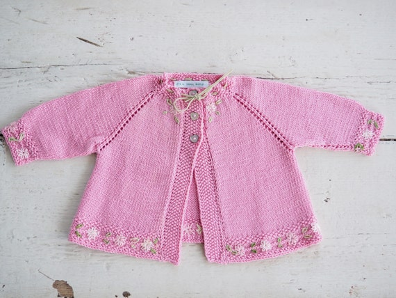 New Hand Knitted Baby Girl Cardigan New Born Matinee Jacket.