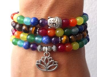 108 Mala beads bracelet or necklace, Chakra bracelet, Tigers Eye bracelet, 7 chakra, Yoga bracelet, Meditation bracelet