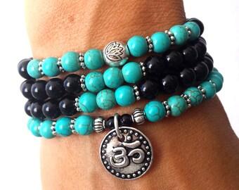 108 Mala bracelet, Yoga bracelet, 108 mala beads, Mala bracelet, Meditation bracelet, Onyx mala,Om mala