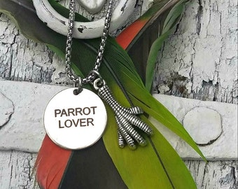 Stainless Steel Parrot Necklace, PARROT LOVER, PaRrOt JeWeLrY, BiRd NEcklace, BiRd JEwelry, PaRRot Foot
