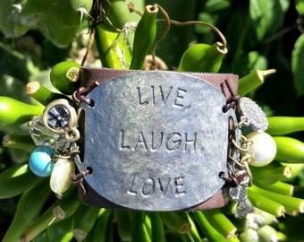 Live Laugh Love Leather Cuff Bracelet, LeAther BrAcElEt, Stamped BRacelet, Quote BRACELET