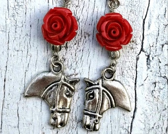 Red Rose Horse Earrings, HORSE JEWELRY, HORse Charm EaRRinGs, Western EaRRIngs, WeStErN JeWeLrY