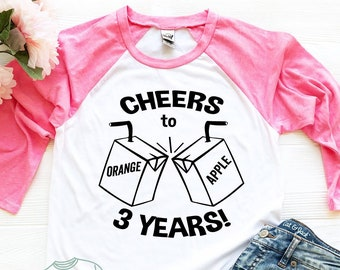 3rd Birthday Shirt Third Bday Turning 3 Years Old Cheers To Year Outfit Girl Boy Son Daughter Niece