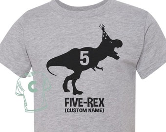 5th Birthday Shirt Dinosaur Five Rex 5 Year Old Gift Fifth Turning Years Custom Personalized