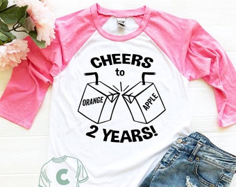 2nd Birthday Shirt Second Bday Turning Two 2 Years Old Cheers To Year Outfit Girl Boy Son Daughter Niece