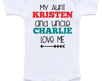 My aunt and uncle etsy baby shower gift personalize baby gift custom shirts custom clothing my aunt and uncle love me personalized names baby shower gifts negle Gallery