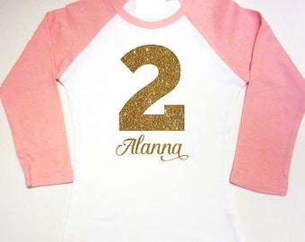 2nd Birthday Shirt Second Birthday I'm TWO Outfit Raglan Glitter Shirt TWO Birthday Second Third Birthday Shirt Gift Idea 1st