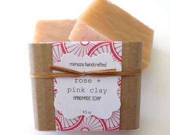 Handmade Rose Pink Clay Soap, Cold Process Soap, Vegan Soap 4.5oz
