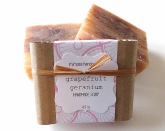 Handmade Grapefruit Geranium Soap, Cold Process Soap, Vegan Soap 4.5oz