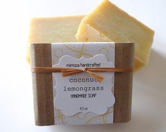 Handmade Coconut Lemongrass Soap, Cold Process Soap, Vegan Soap 4.5oz