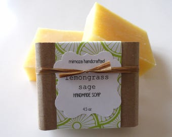 Handmade Lemongrass Sage Soap, Cold Process Soap, Vegan Soap 4.5oz