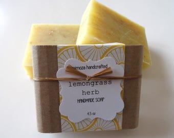 Handmade Lemongrass Herb Soap, Cold Process Soap, Vegan Soap 4.5oz