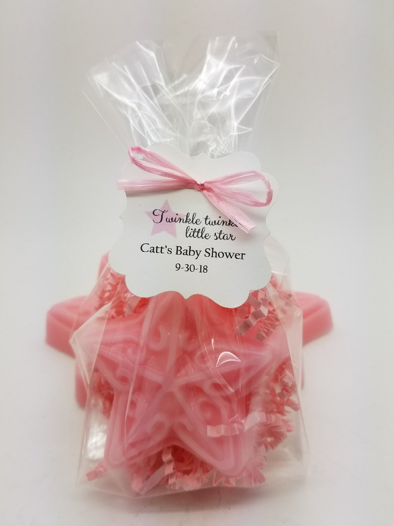 Baby Sprinkle Baby Shower Favors Custom Tags Pink Star Soap with Pink Crinkle Paper Twinkle Twinkle Little Star Theme Handmade 12