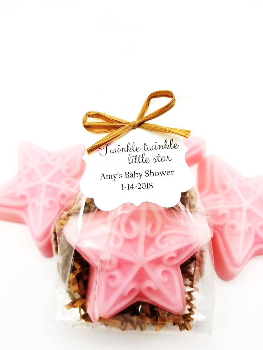 Pink Star Soap Baby Shower Favors with Custom Tags Twinkle | Etsy