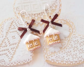 earrings biscuit christmas house polymer clay