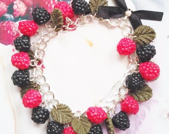 bracelet blackberries and raspberries polymer clay