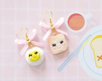 earrings kawaii toast and egg polymer clay