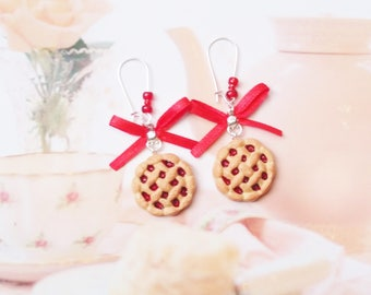 earrings cherry pies polymer clay