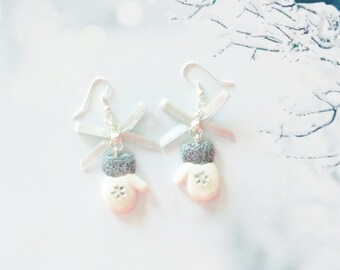 earrings mittens  polymer clay