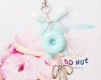 keychain pastel donut polymer clay