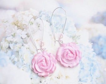 earrings romantic pink roses polymer clay