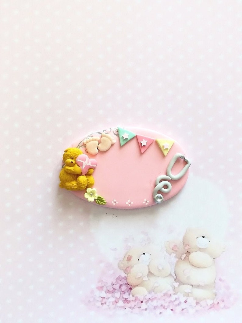 badge midwife polymer clay
