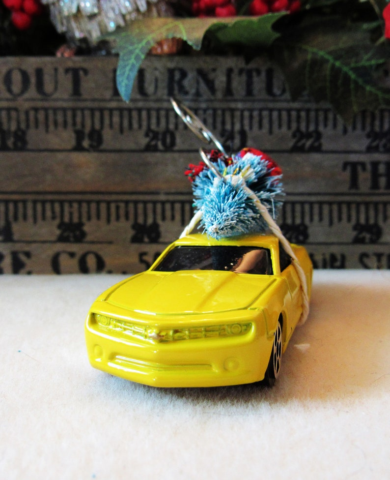 Christmas Tree Ornament-2008 Chevrolet Camaro Concept Car with Miniature Tree-Collector/'s Item-Gift for Him-Christmas Gift-Die Cast Car