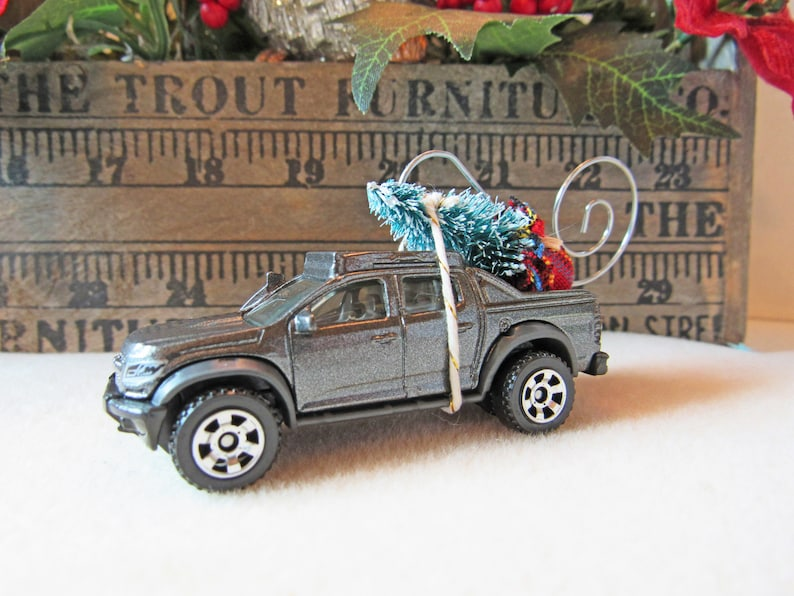 Christmas Tree Ornament-Die Cast Car-2016 Chevy Colorado Truck with Miniature Tree-Collector/'s Item-Gift for Him-Christmas Gift
