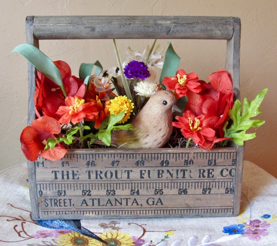 Flower Box Floral Arrangement Gift For Her Fall Etsy