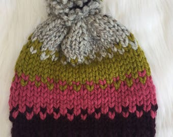 b7293d5dd83 Three Color Fair Isle Slouchy Hat   Chunky Knit Hat with Pom Pom   Mixed  Wool Beanie