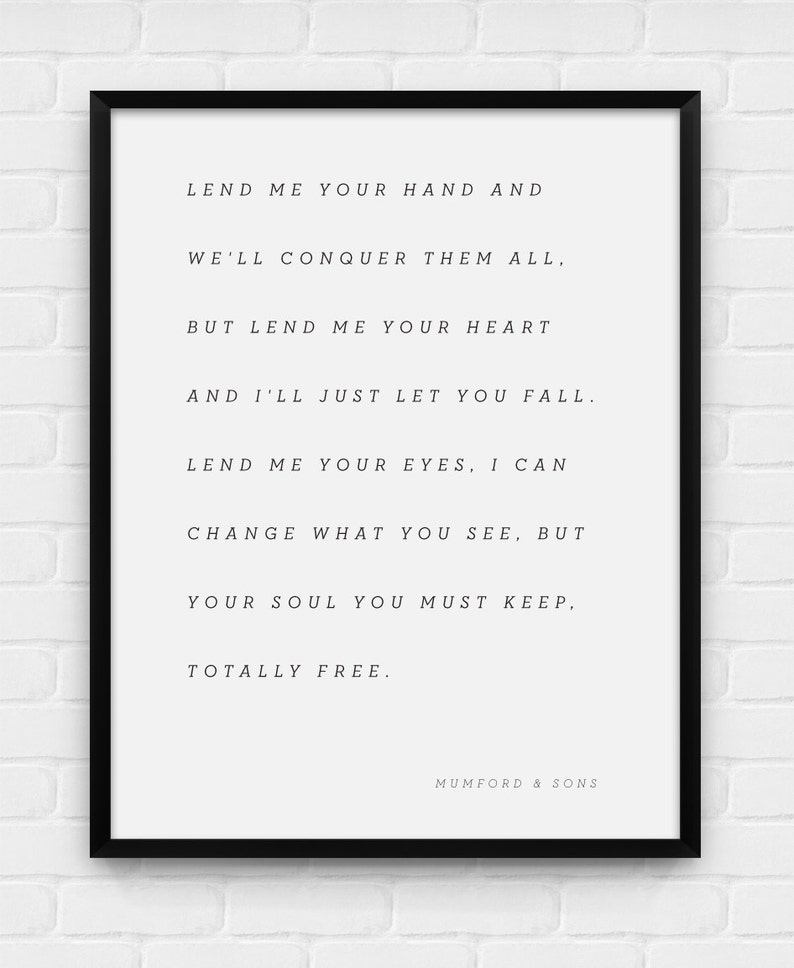 graphic relating to Free Printable All About Me Posters referred to as Extensively Totally free - Mumford Sons Lyrics - Printable Poster - Electronic Artwork, Down load and Print JPG