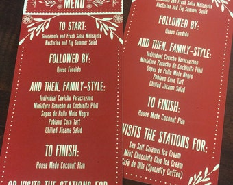 Mexican Inspired MENU CARDS, Fiesta Menu Cards for weddings, Corporate Dinners,Bridal Events, and Dinner Parties