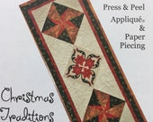 Christmas Traditions 67 quot x 72 quot Press Peel Applique and Paper Piecing Table Runner by Penny Slate Designs