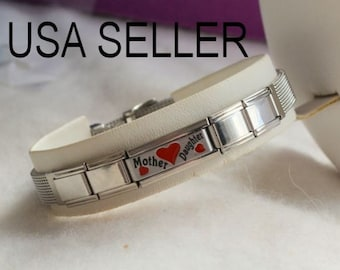 Stainless Steel MOTHER DAUGHTER Charm Bracelet Mesh Red Hearts Love