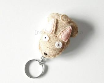 Bunny felt keychain, cute rabbit mini plush, bags accessory, animal lovers gift, soft grey rabbit plush, gift idea for her, handsewn plush